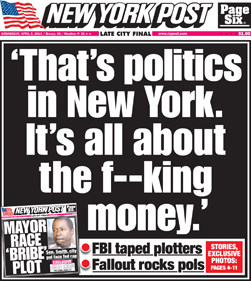 NY Post corruption front page