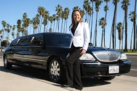 Limousine and woman