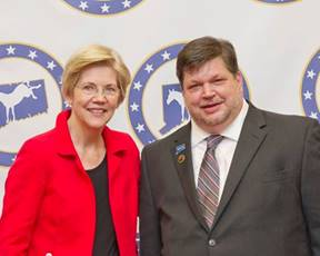 Elizabeth Warren and Chris Pitts